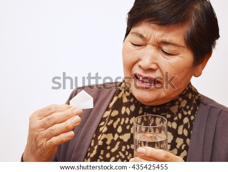 The woman who takes medicine ; Image of wonder drugs - stock photo