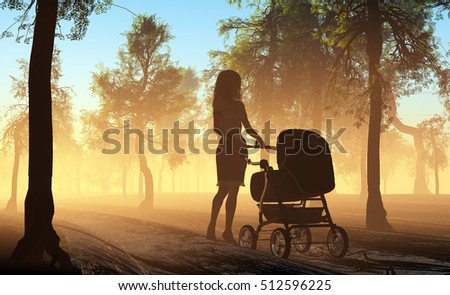 The woman with a baby carriage in the forest. ,3d render