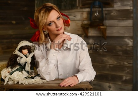 The woman with bows in rural style