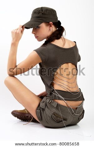 The women in a military uniform. - stock photo