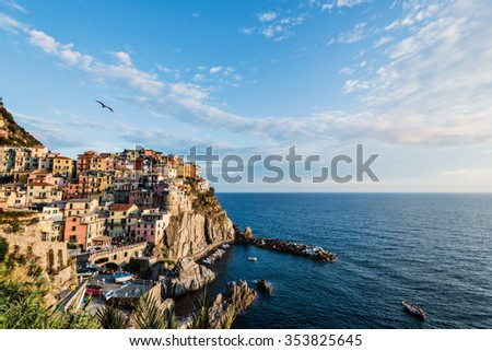 The wonderful Manarola village at sunset with flying bird, Cinque Terre National Park, Liguria, Italy, Europe - stock photo