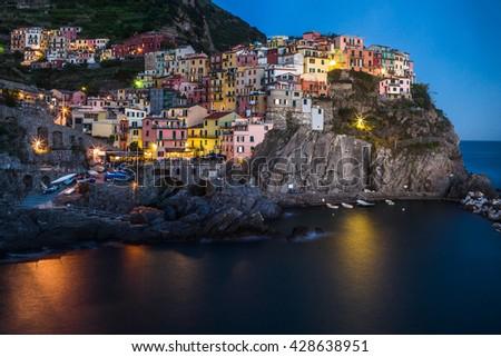 The wonderful village of Manarola, in the famous Cinque Terre area in Liguria, Italy - stock photo
