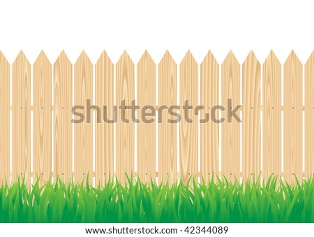 The wood fence and the green grass