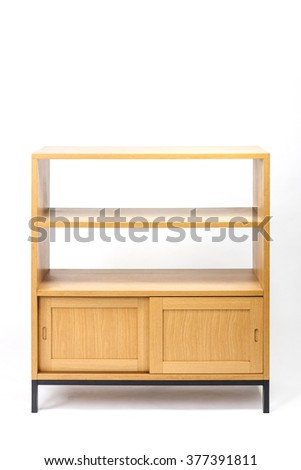 The wood oriental(korean, japanese, chinese) style simple(modern) birch(oak) wood shelf with iron legs isolated white at the studio. - stock photo