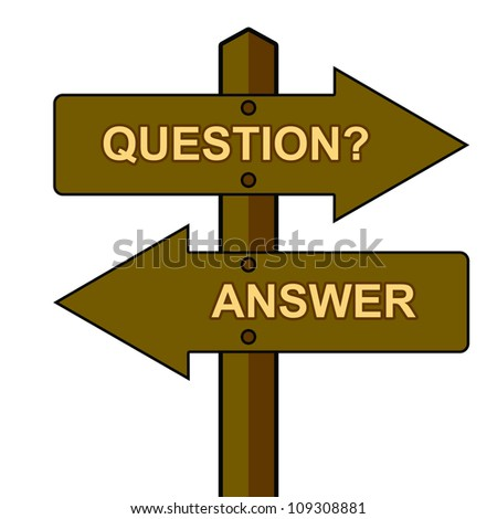The Wood Question and Answer Traffic Sign Isolate on White Background - stock photo