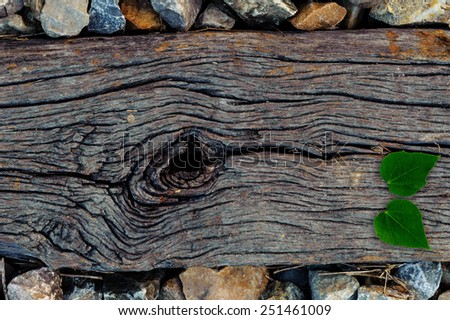 The wood that support old railway closeup texture - stock photo
