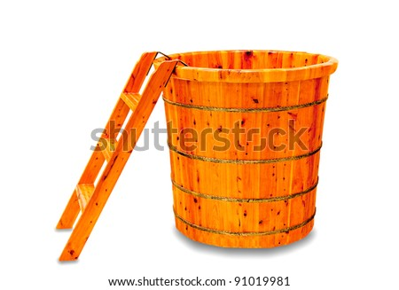The Wooden bathtub isolated on white background - stock photo