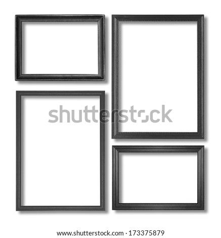 The wooden black frame on the white background - stock photo