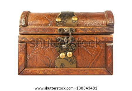 The wooden box on a white background - stock photo