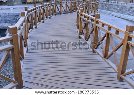 The wooden bridge in the park