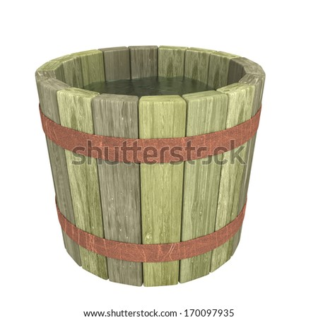 the wooden bucket of water - stock photo