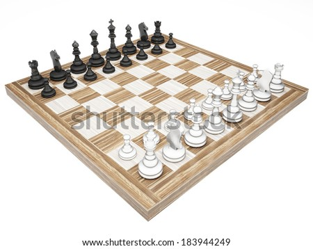 The wooden chess pieces on a chess board isolated on a white background