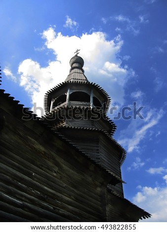 The wooden church, background of blue sky