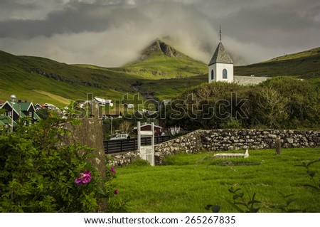 The wooden church of Krivik in the Faroes - stock photo