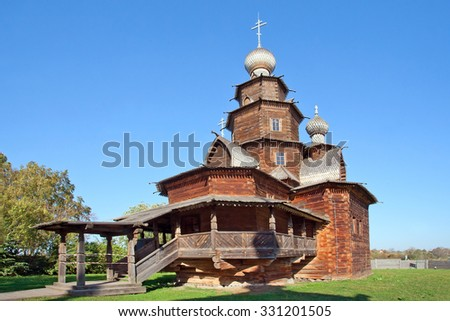 The wooden church of Ressurection in Suzdal, Russia. Golden Ring of Russia - stock photo