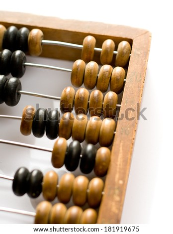 The wooden counter isolated closeup - stock photo