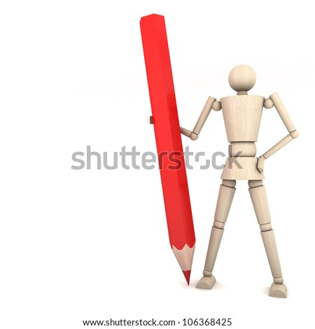The wooden doll with color pencil on white background 3d illustration - stock photo