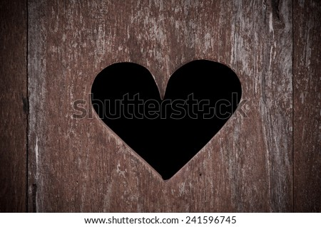 the wooden door with heart - stock photo