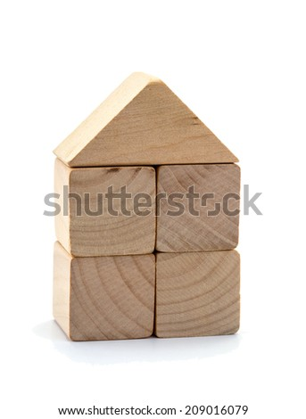 The wooden figure geometric shape, isolated on white - stock photo