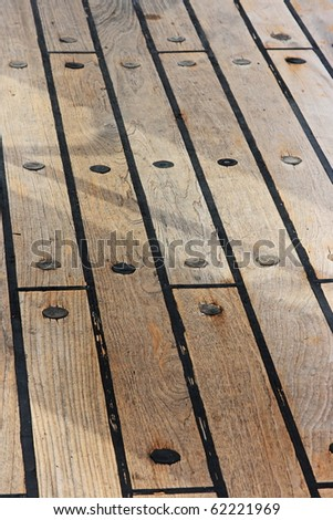 The wooden floor on the ship