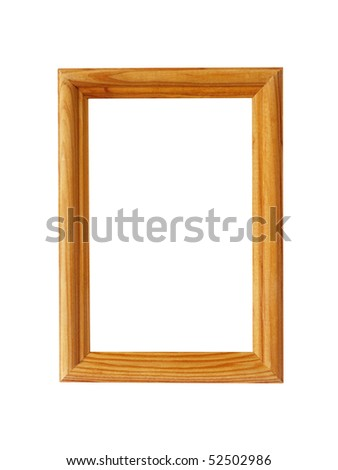 The wooden frame for photos on a white background close up is isolated - stock photo
