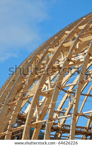 The wooden frame of the dome. - stock photo