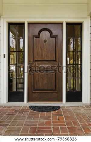 Wooden Front Door Home Glass Panels Stock Photo Edit Now 79368826