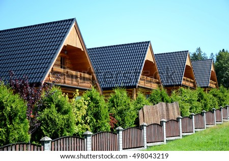 The wooden holiday houses