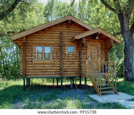 The wooden house established on piles and combined from round logs.