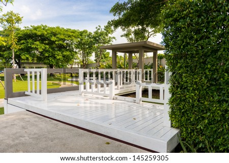 the Wooden house in the park - stock photo