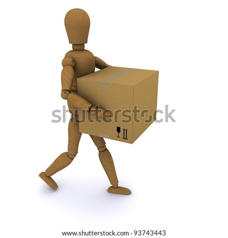 The wooden man walks with a closed cardboard box in his hands. 3D rendering