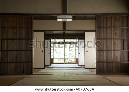 The wooden old house which is an important cultural asset. - stock photo