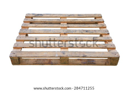 The wooden pallet isolated on white background, Pallet carrier or rack for support product in store or logistic industry.