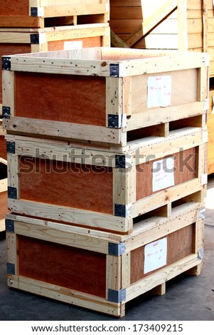 The wooden pallet of steel hardware - stock photo