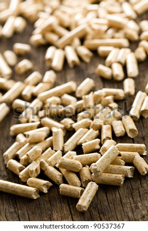 the wooden pellet. ecological heating - stock photo
