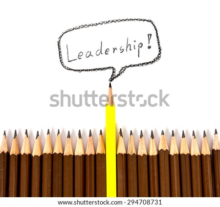 the wooden pencil with one different as a symbol of leadership concept - stock photo