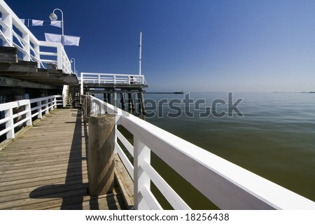 the wooden pier in Sopot - Poland - stock photo