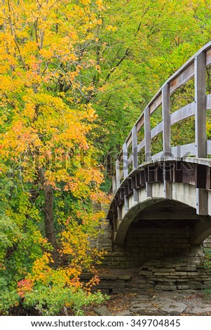 The wooden rails of an arching bridge lead into a colorful autumn maple forest. - stock photo