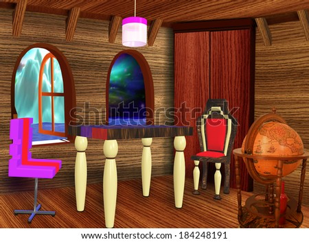 The wooden room with furniture and two windows - stock photo