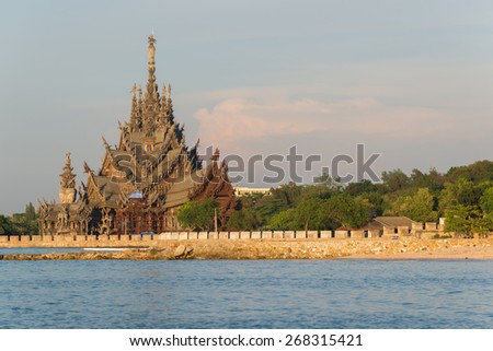 The wooden sanctuary of truth, buddhist, chinese, and hindi emple in Pattaya, Thailand - stock photo