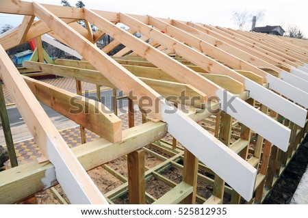 The Wooden Structure Of The Building. Wooden Frame Building. Wooden Roof  Construction. Photo