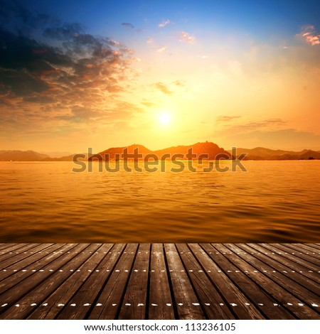 The wooden structures of offshore platforms(Dusk) - stock photo