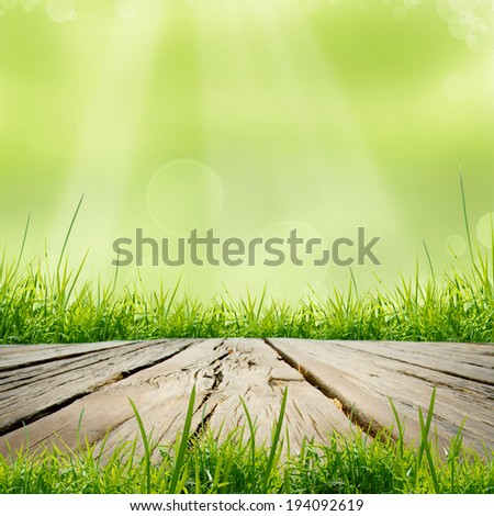 the wooden table with natural green background - stock photo