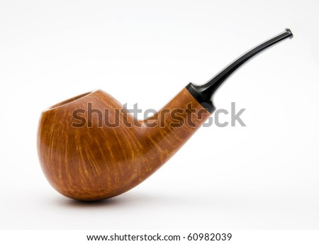 The Wooden tube for smoking on white background. - stock photo