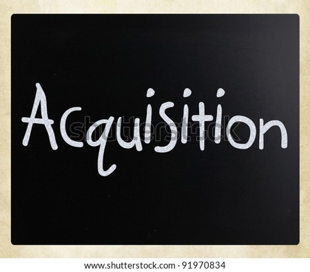 "The word ""Acquisition"" handwritten with white chalk on a blackboard - stock photo"
