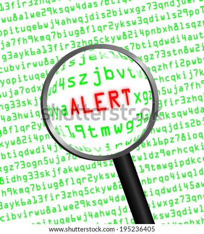 "The word ""ALERT"" in red revealed in green computer machine code through a magnifying glass. White background. - stock photo"