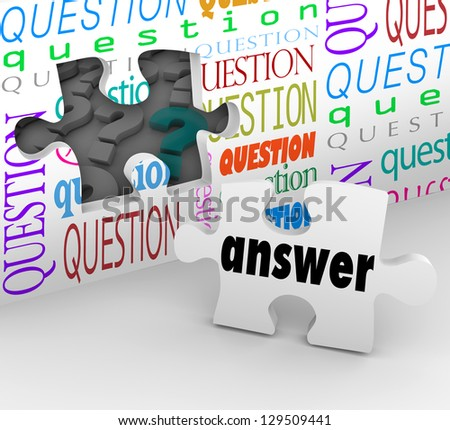 The word Answer on a puzzle piece to symbolize the quest for understanding in answering questions and concerns - stock photo
