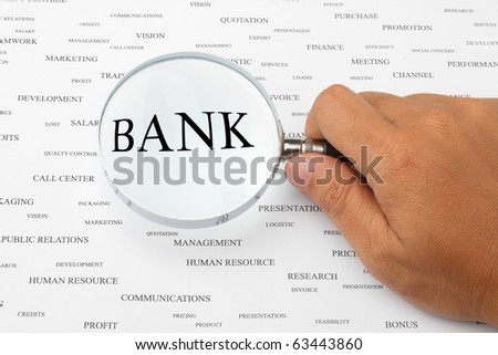 The word BANK is magnified.