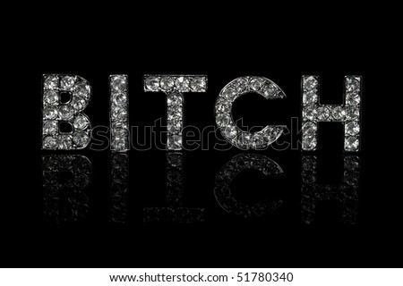 The word BITCH spelled with bling-bling characters - stock photo