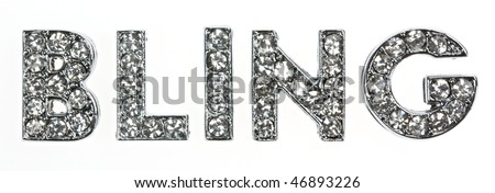 """The word """"bling"""" written in self-explanatory lettering. - stock photo"""